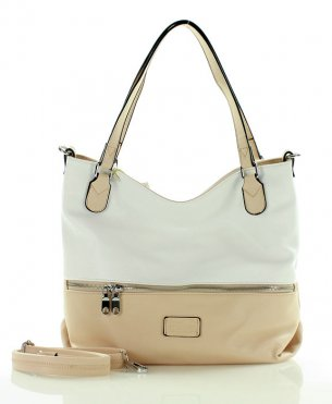FURRINI Pojemna torba shopper bag beżowy nude