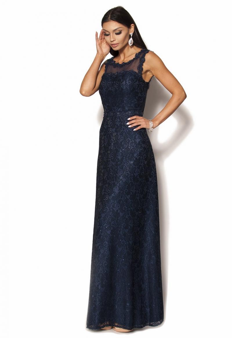 4112d7e87 Wieczorowa długa granatowa suknia zdobiona kamieniami Model: PW-2205 ...