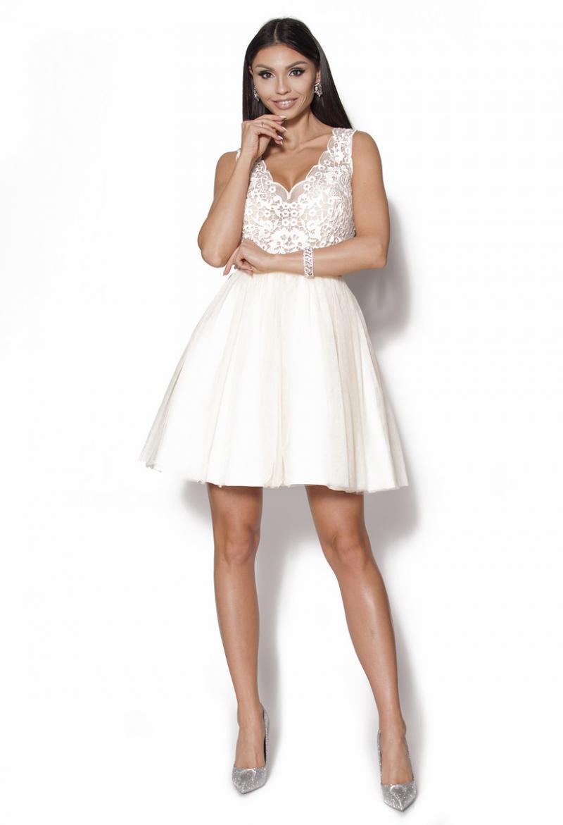 fd8b771d Koronkowa ecri sukienka rozkloszowana Model PW-2290