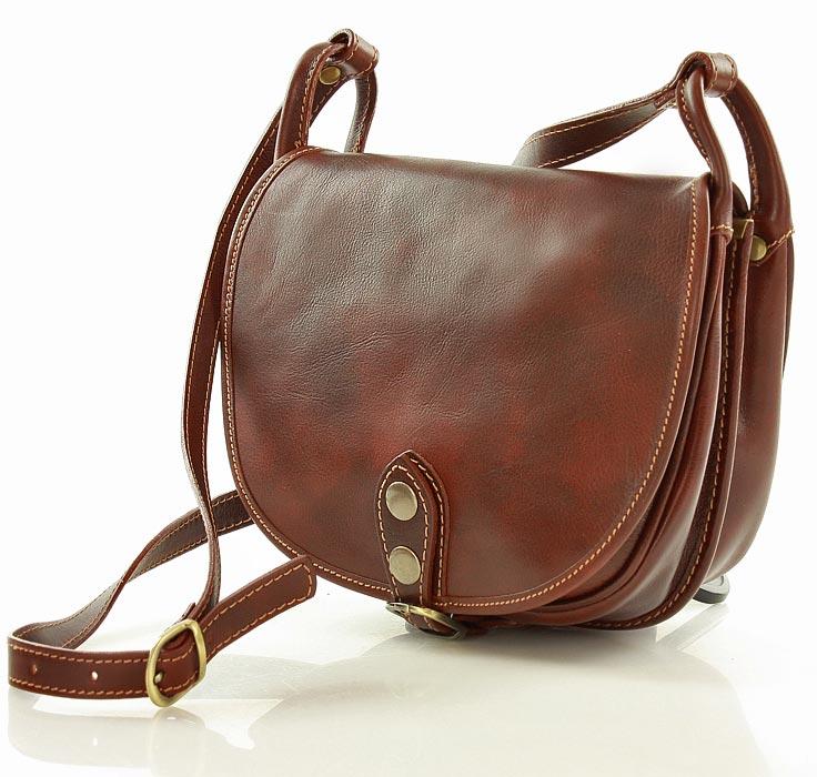 84de594a3da12 Skórzana torebka włoska na długim pasku ALESSANDRA CLASSICO brązowa ...