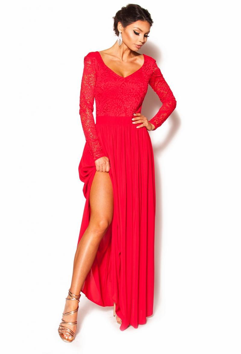 f2dbb18e64 Długa czerwona sukienka z koronkową górą Model MOR-2676  295.00zł ...