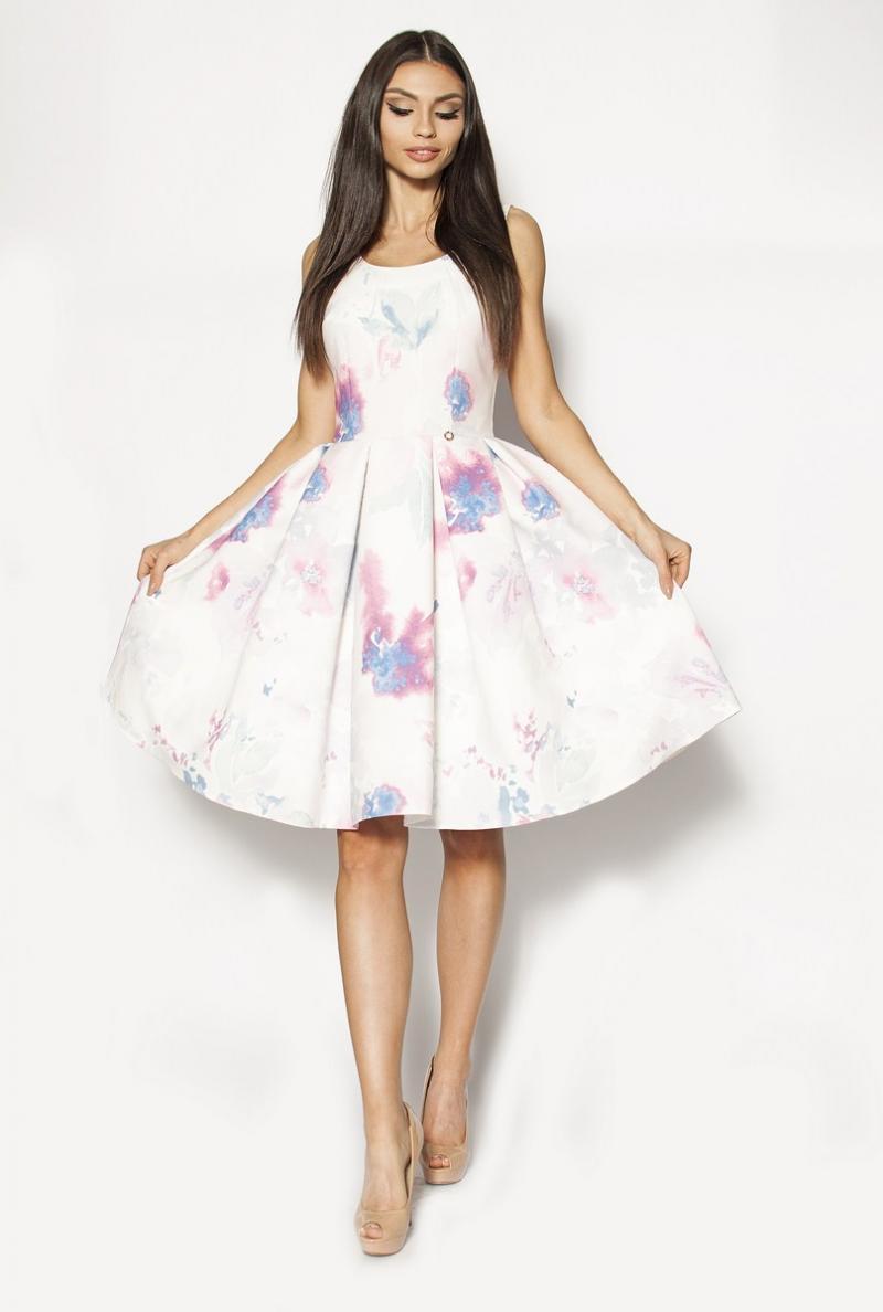c369bd6457 Piękna rozkloszowana sukienka midi z motywem kwiatowym MOR-3042 ...