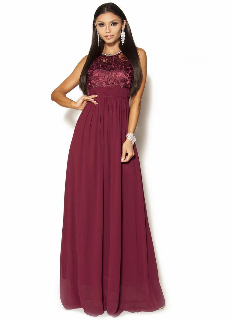 1b9d7ec936 Bordowa sukienka maxi z gipiurą i kryształkami Model IP-3373  295.00 ...