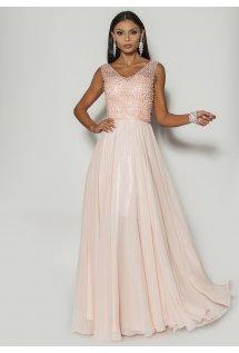 8a133bd212 Efektowna sukienka maxi z bogato zdobioną górą w kolorze pudrowego różu  Model  PW-3386