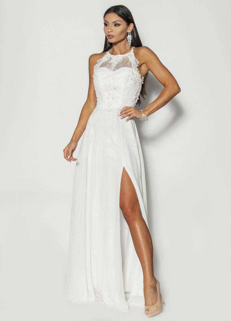 f7cf483a09 Długa elegancka sukienka w kolorze białym Model IP-3400  355.00zł ...