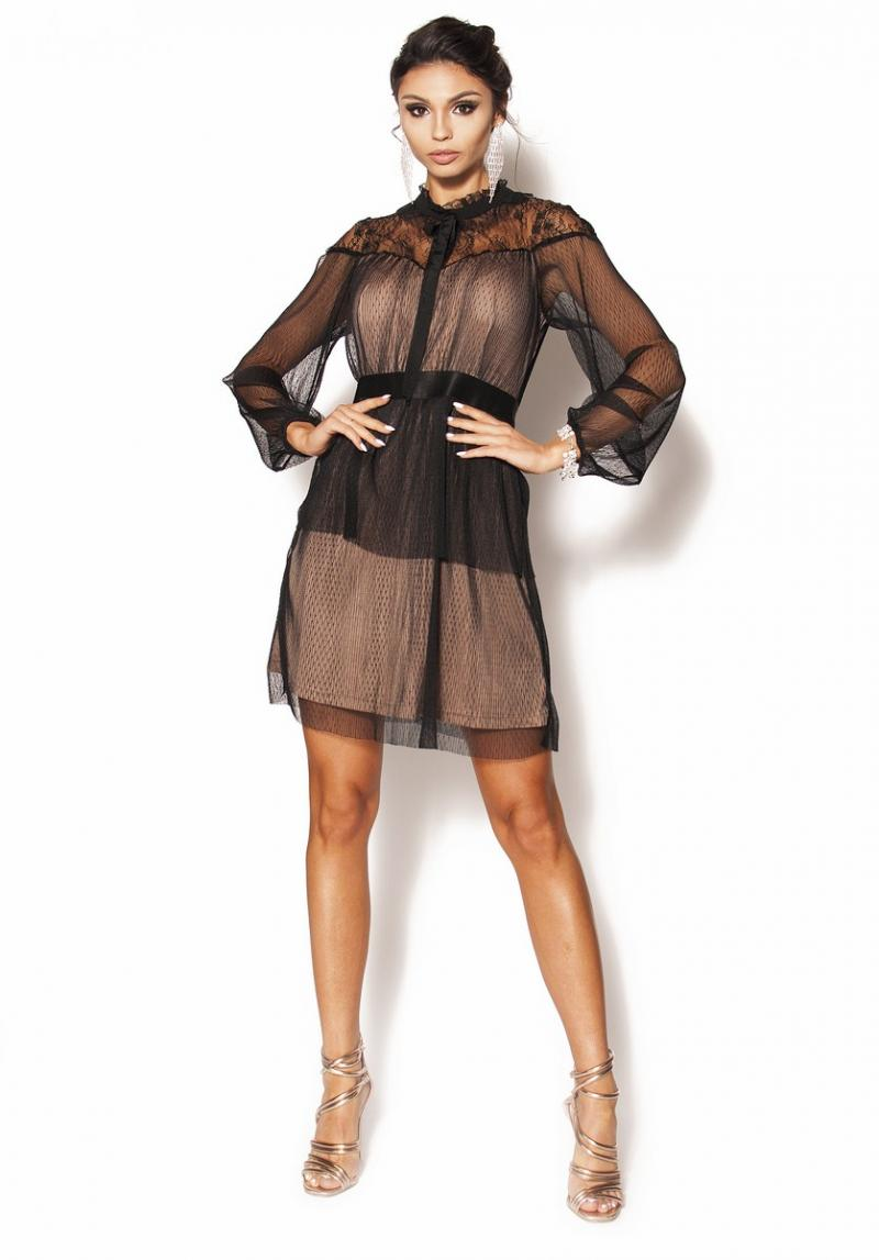 48d66df4 Delikatna sukienka mini z długim rękawkiem Model: IP-3710