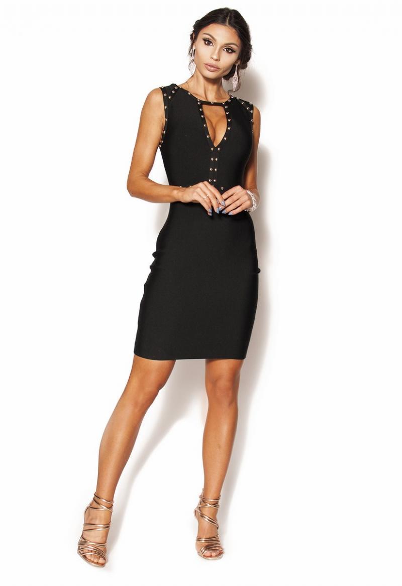 2f72a64acd Czarna Dopasowana sukienka mini z dodatkiem ćwieków Model  IP-3485 ...