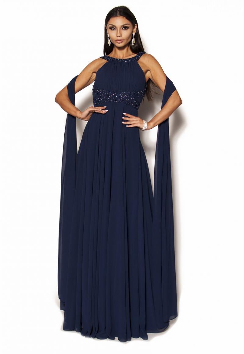 fb64ef4d44 Granatowa sukienka maxi z szalem Model PW-3727  419.00zł  - Maxi ...