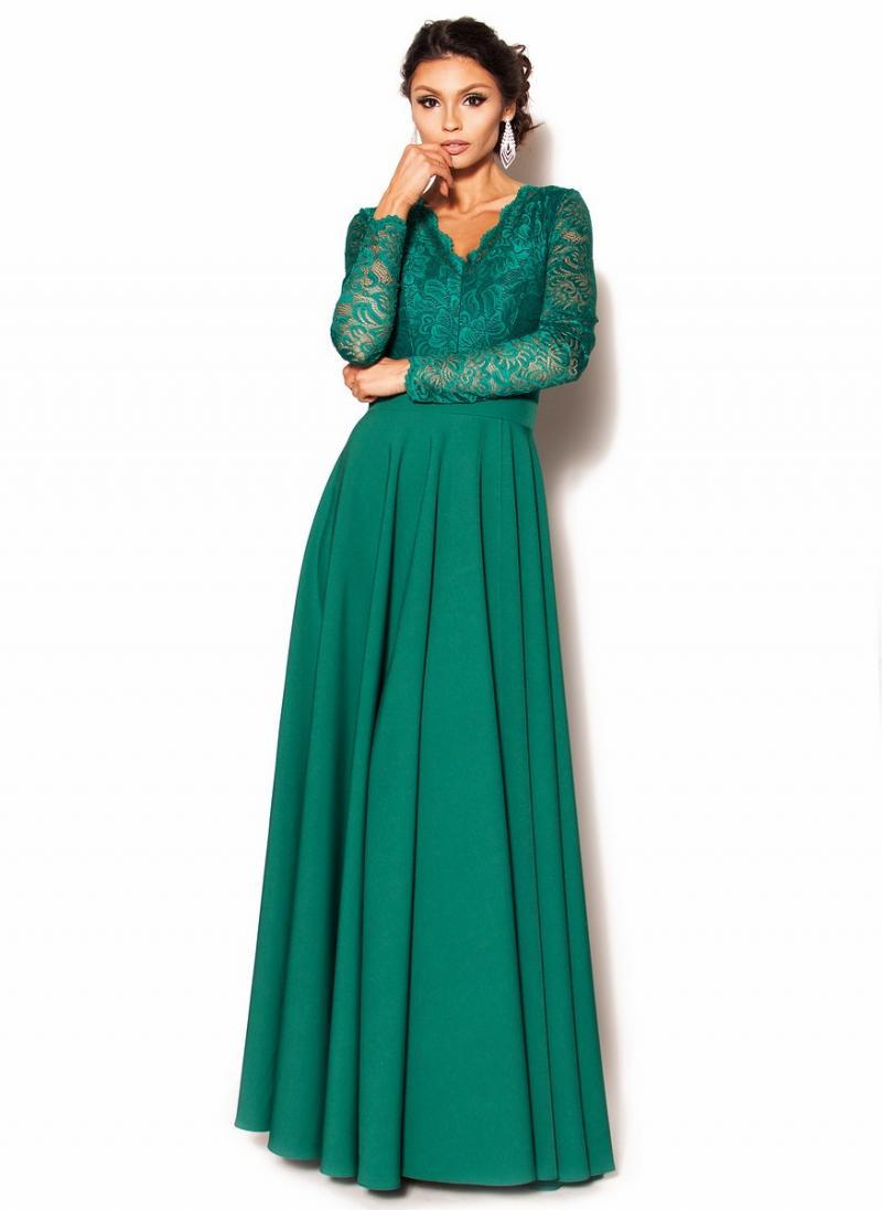 21771c94c7 Zjawiskowa zielona sukienka maxi z koronkową górą MODEL  MOR-3456 ...