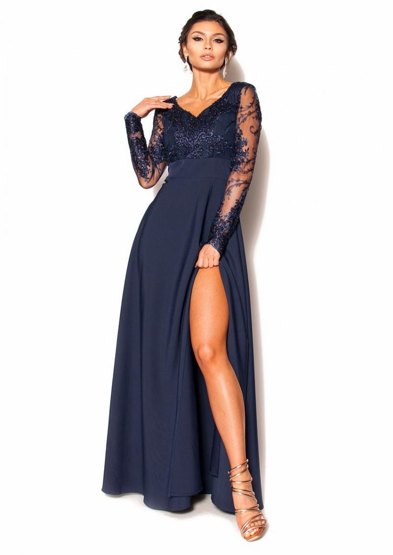 0ac3dd9dac Elegancka sukienka maxi z rękawkiem Model  KM-3489  345.00zł  - Maxi ...