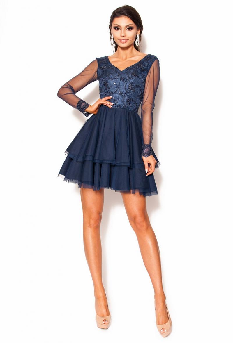 6eaa91702d Rozkloszowana sukienka mini z długim rękawem Model  KM-3504  259.00 ...