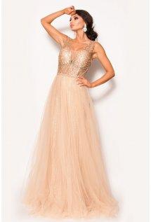 9ff82911c2 Zjawiskowa sukienka maxi wyszywana brokatem MODEL  PW-3532