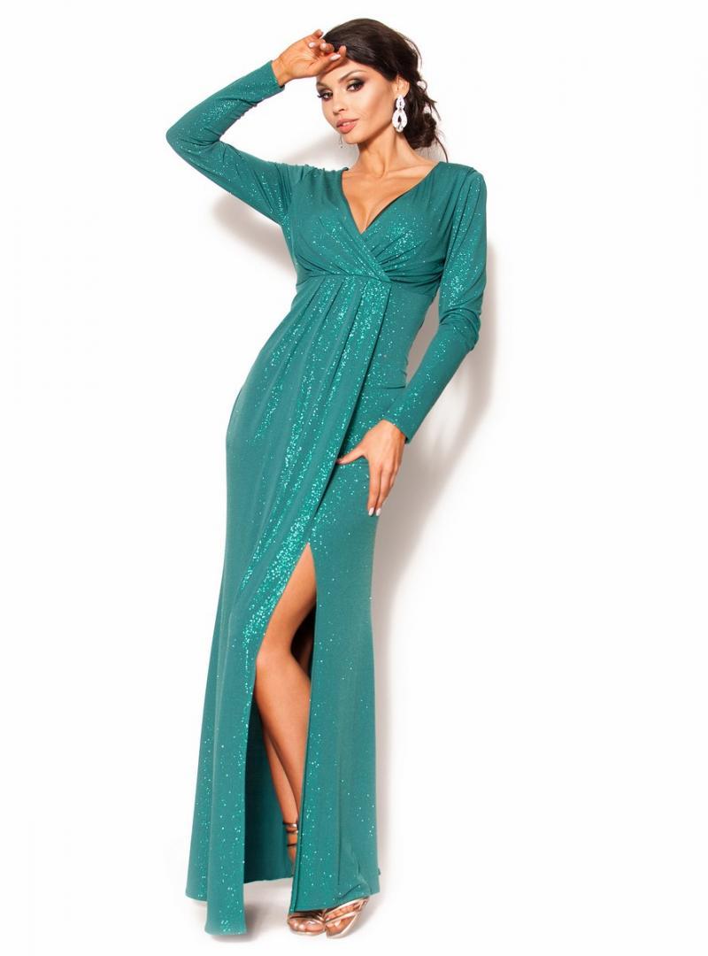 9aa1eacb39 Błyszcząca sukienka maxi z długim rękawem-plis MODEL  KM-3535 ...
