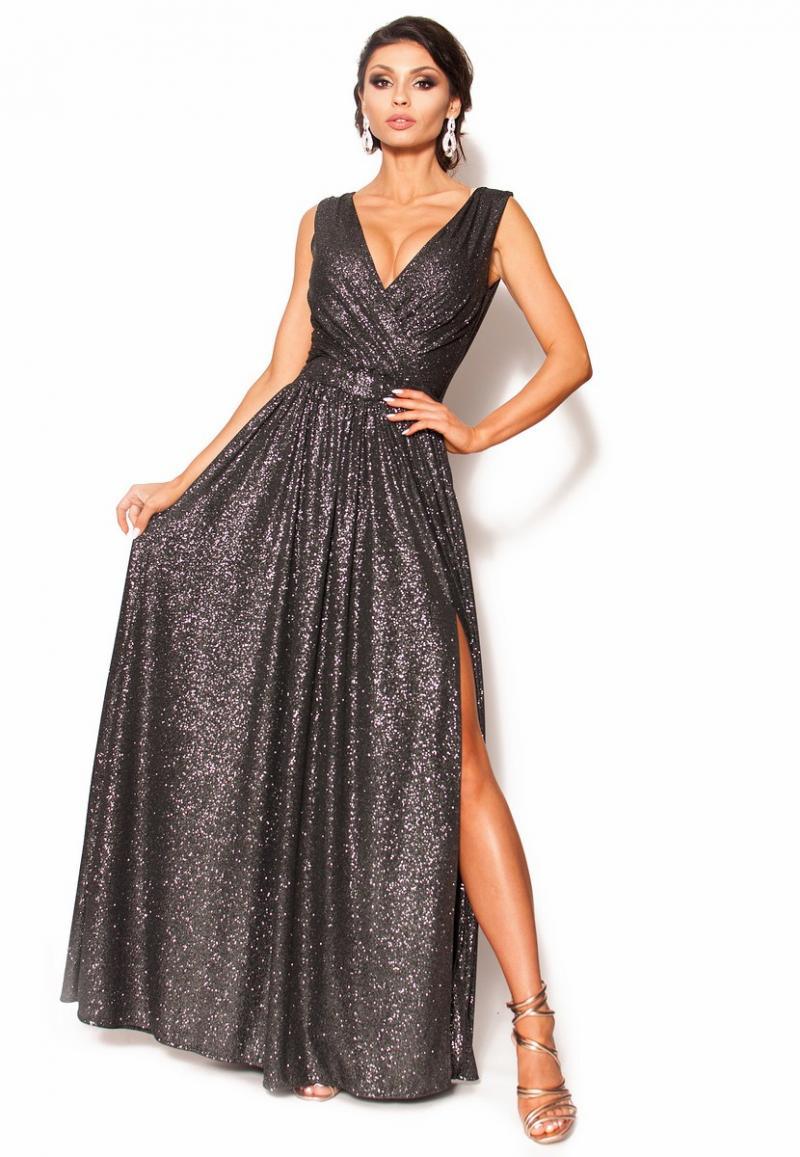 dbcd6b21b2 Błyszcząca sukienka maxi z kopertowym dekoltem MODEL- RO-3538 ...