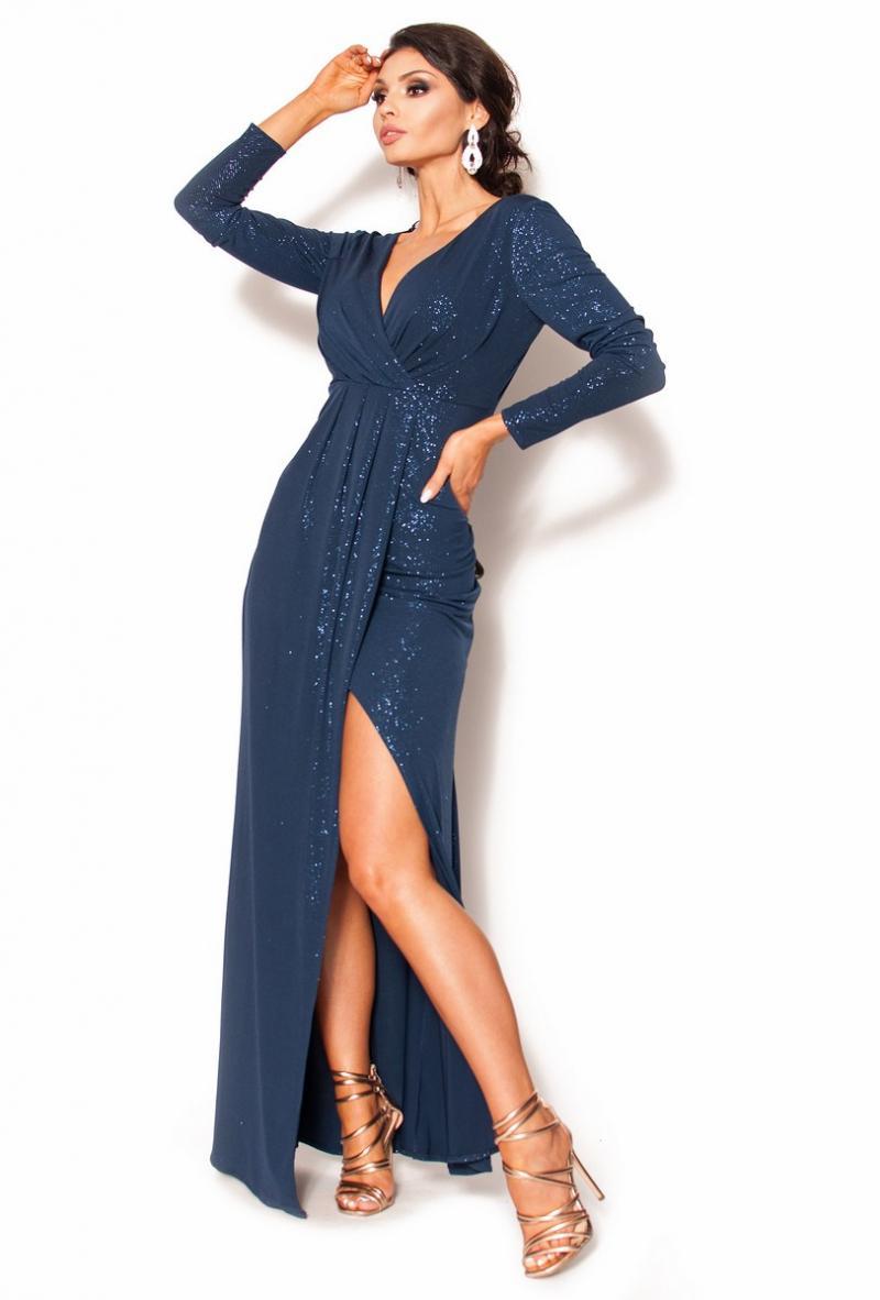 c978db0c63 Błyszcząca sukienka maxi z długim rękawem-plisy MODEL  KM-3537 ...