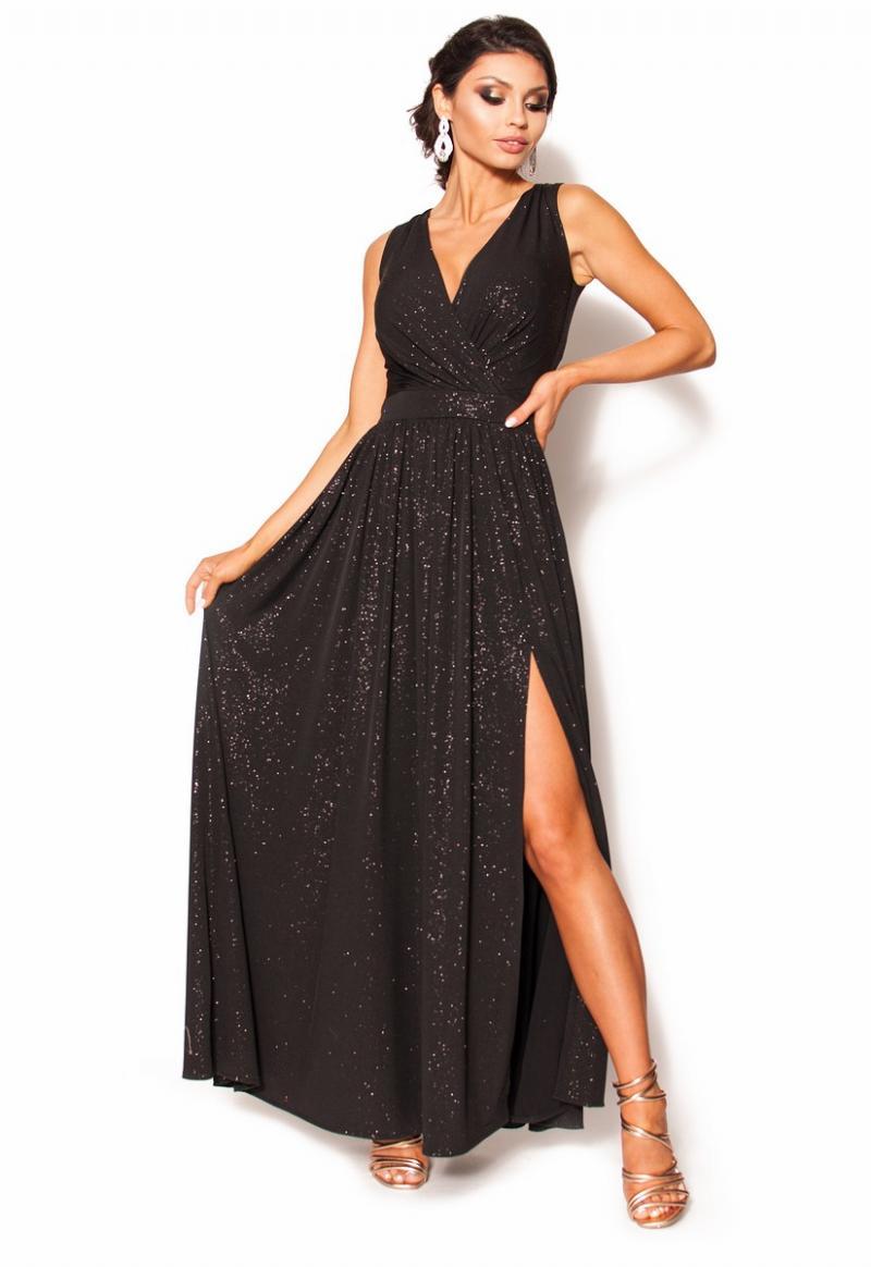 f55158181d Błyszcząca sukienka maxi z kopertowym dekoltem MODEL  RO-3542 ...