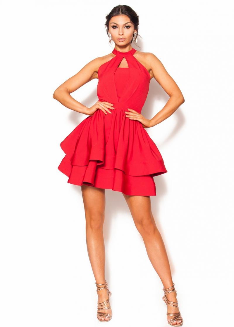 38156a761d Czerwona rozkloszowana sukienka Mini zapinana na szyję Model  RO-3580