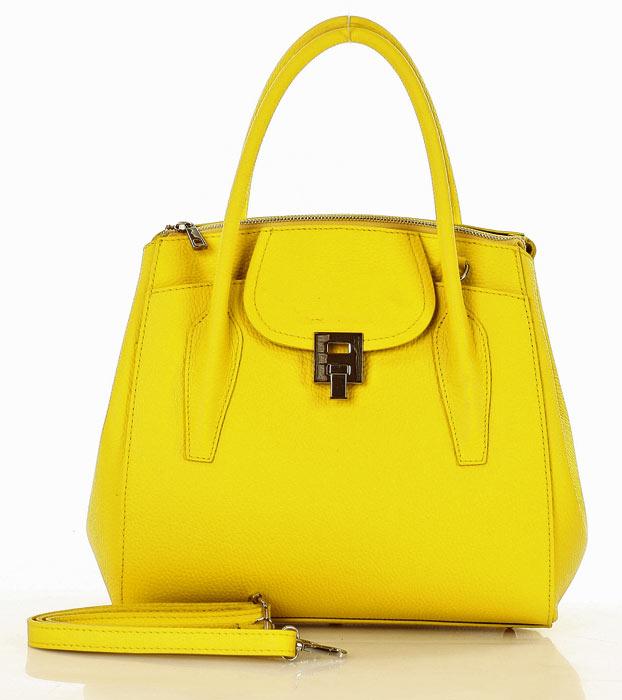 SukienkiMM.pl: MARCO MAZZINI Luksusowa torebka shopper skóra naturalna żółta