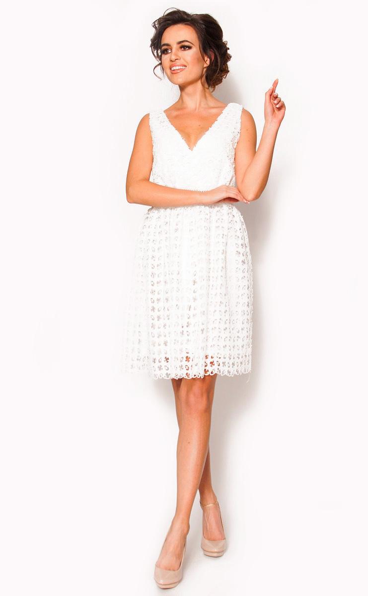 1d6e4981 SukienkiMM.pl: Biała delikatna sukienka mini Model: IP-3920