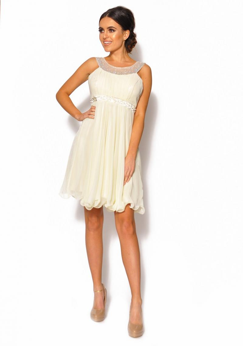 dd235d40 Delikatna sukienka mini w kolorze ecri Model: IP-3962