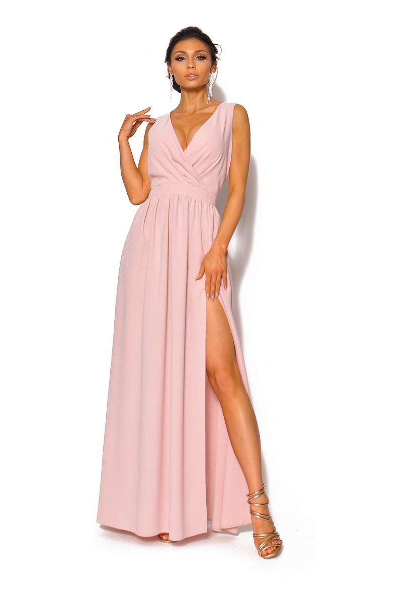 Gładka sukienka maxi z kopertowym dekoltem MODEL: KM 4005