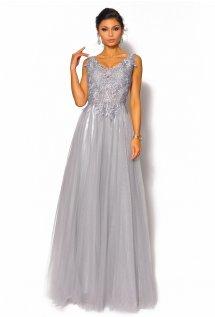 d217bed407 Olśniewająca sukienka maxi z haftem i tiulowym dołem w kolorze szarym  Model  PW-4060