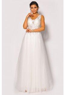 1b502725e9 Olśniewająca sukienka maxi z haftem i tiulowym dołem w kolorze białym  Model  PW-4061