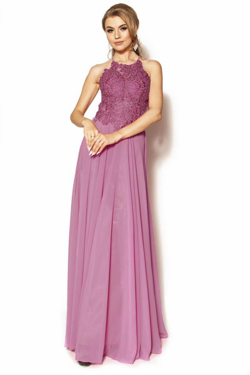 d090a3e74b Elegancka długa sukienka maxi z bogato zdobioną górą Model  PW-4052 ...