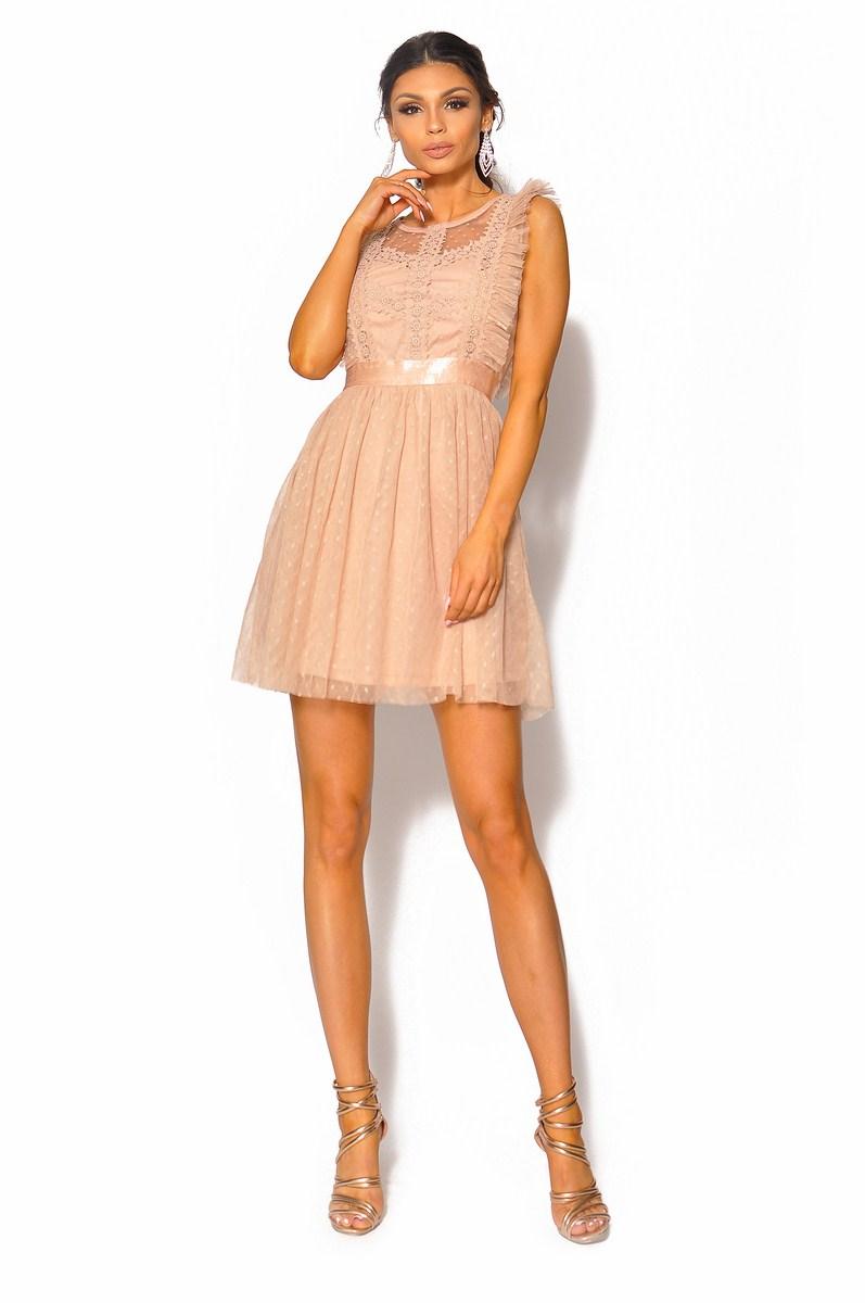 28554fe6 SukienkiMM.pl: Delikatna beżowa sukienka odcinana w pasie Model: IP-4087A