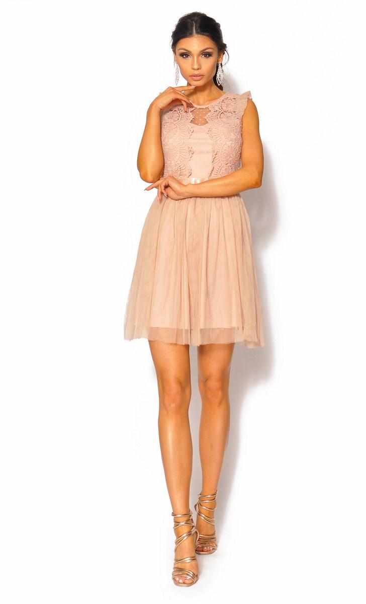 070122b1 SukienkiMM.pl: Delikatna beżowa sukienka z gładkim tiulem Model: IP-4089