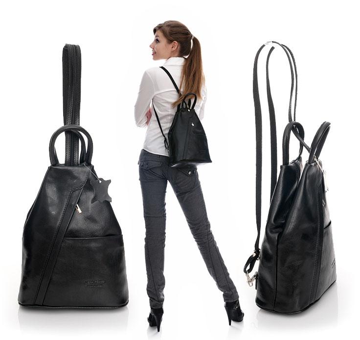 91a38fc915dd0 Modny plecak damski czarny MORENA CLASSIC  249.00zł  - skórzane ...