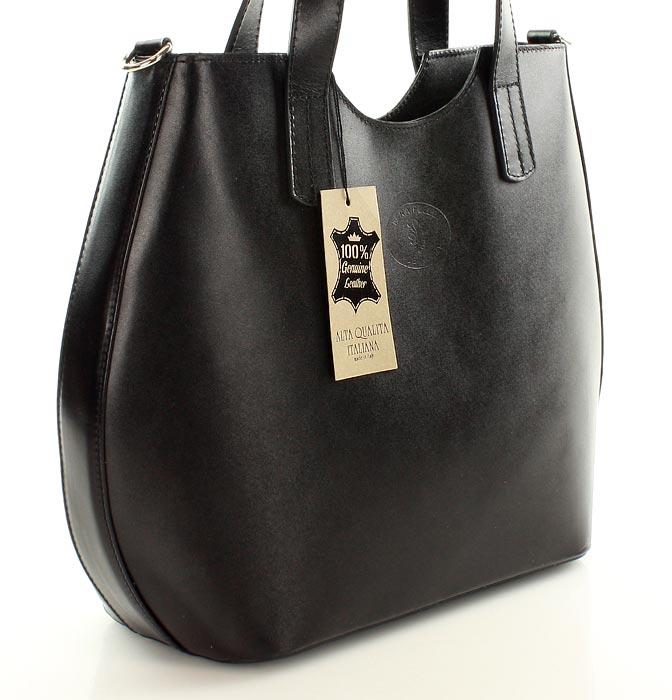 c80756e47502a Torebka włoski shopper bag ze skóry naturalnej MAZZINI - Azara czarna. I ...