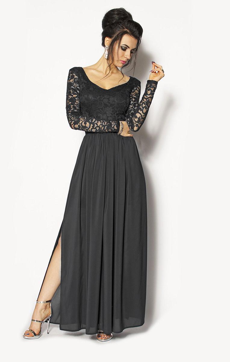 0c3446bcd1 Wspólne Długa czarna sukienka z dekoltem w serek MOR-2823  295.00zł PD-