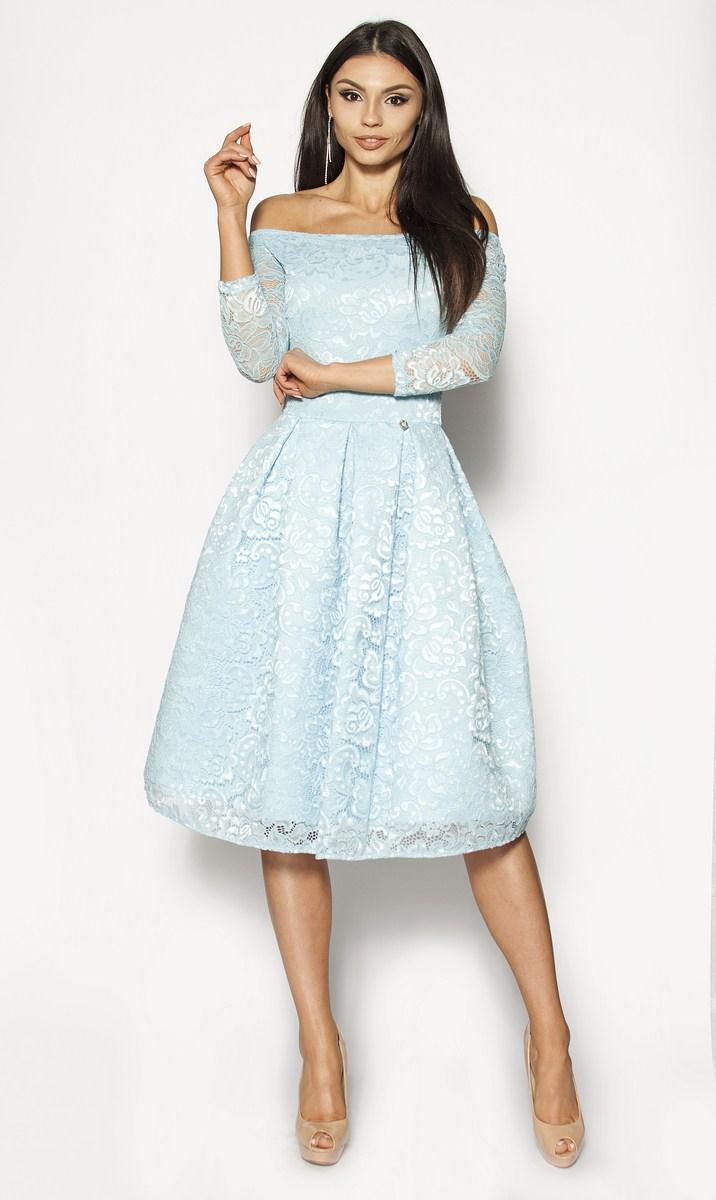 03f7391206 Błękitna rozkloszowana sukienka midi Model  MOR-2930  255.00zł ...