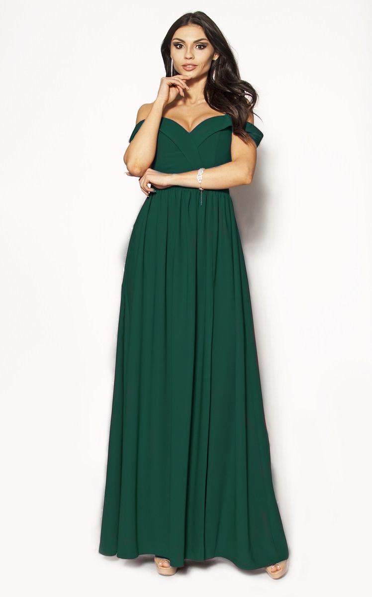 Długa suknia z rozcięciem na nogę w kolorze butelkowej zieleni Model: KM 3372