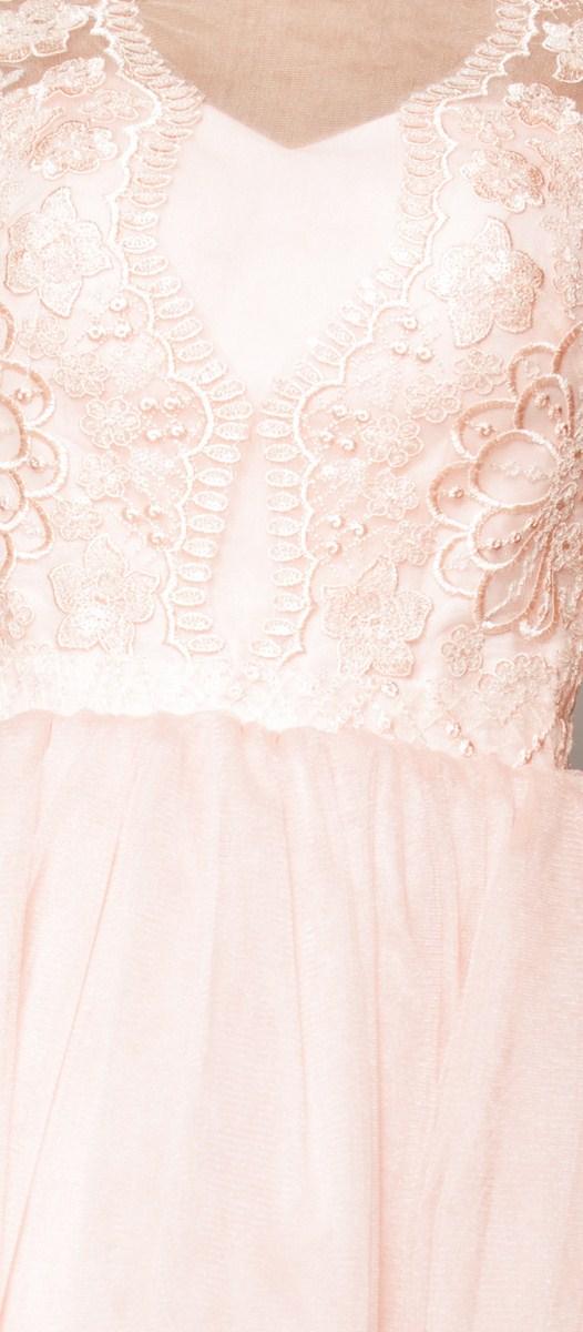 601c2b1eec Subtelna rozkloszowana sukienka mini w kolorze brzoskwiniowym Model  PW-3435.  I ...