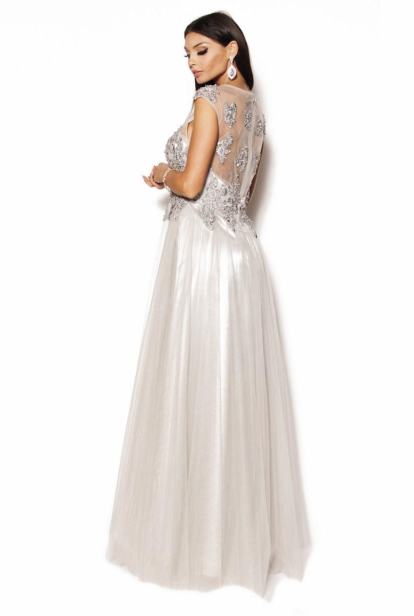 6d3e771f7f Szara śliczna sukienka zdobiona perełkami Model  IP-2076  495.00zł ...