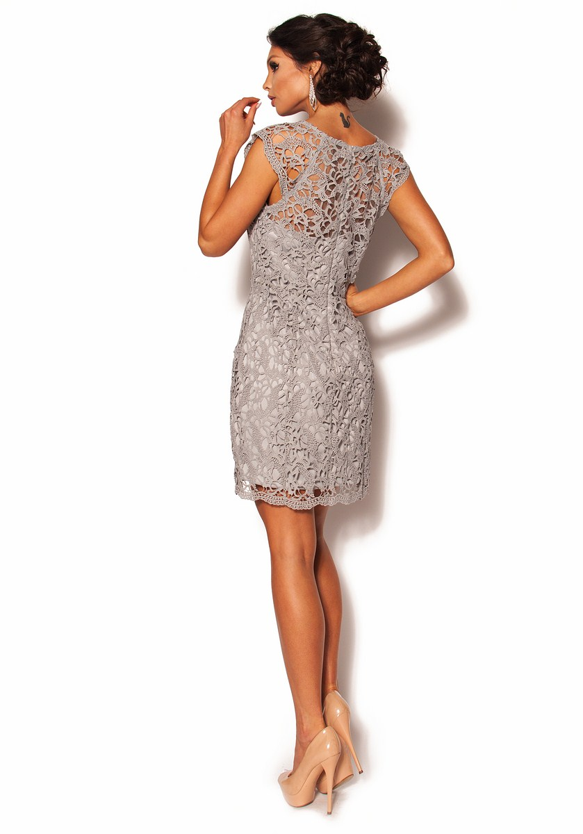 ee1ff901e5 Szara elegancka sukienka z gipiury Model  PW-2611  319.00zł  - Mini ...