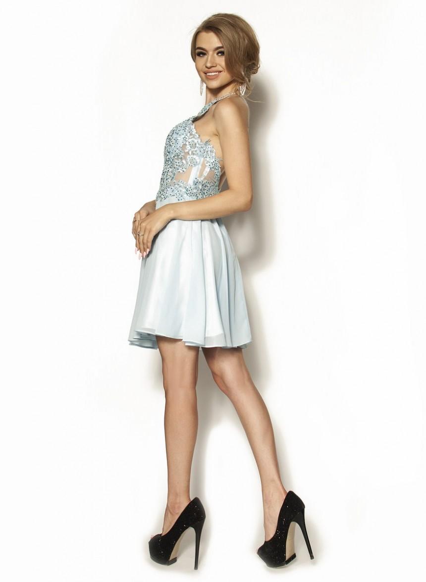 cba5b9c5cb Zjawiskowa sukienka z diamencikami w kolorze błękitu Model  PW-3103 ...