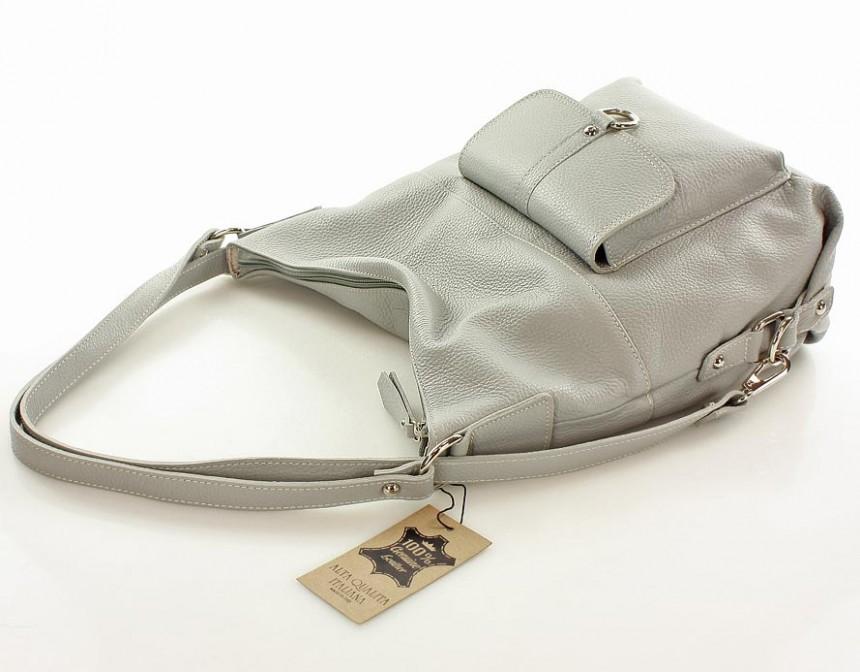 b41825dc39b8d Torebka - plecak ze skóry naturalnej MAZZINI - Alessia szary  249.00 ...