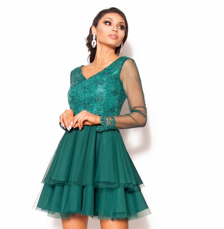 ef889bf4b2 Rozkloszowana sukienka mini z długim rękawem Model  KM-3505  259.00 ...