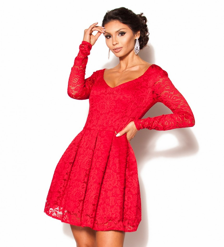 6444f385af Czerwona koronkowa sukienka z rękawkiem Model MOR-2667  219.00zł ...